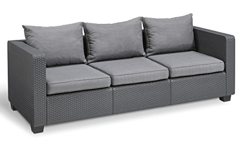 Keter Salta 3-Seater Seating Patio Sofa Sunbrella Cushions in a Resin Plastic Wicker Pattern, Modern Graphite/Cool Grey