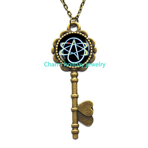 Top atheist jewelry necklace for 2018 top rated products atheist symbol key necklace atom key pendant atheist jewelry no religion key necklace aloadofball Choice Image