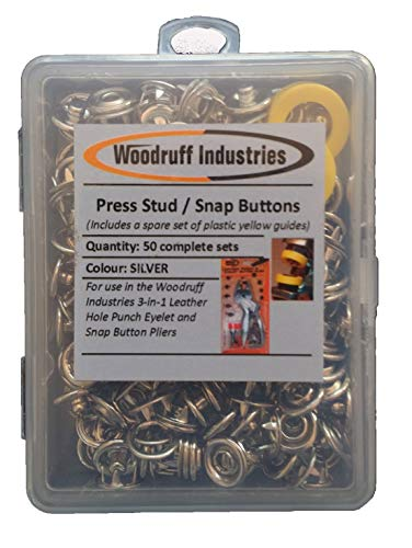 Woodruff Industries 50 Complete Sets Metal Snap (Press Stud) Buttons Rounded Fasteners Sewing Rivet Buttons for Clothing and Leather Snap Closing Fasteners Arts and Crafts Poppers Tool Silver 200 Comp
