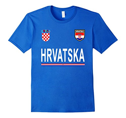 Mens Croatia, HRVATSKA Cheer Jersey - Football Croatian T-Shirt Small Royal ()