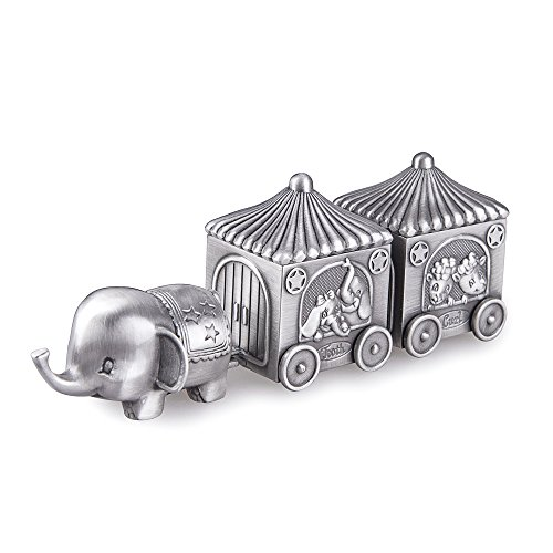 Feyarl First Curl and Tooth Elephant Keepsake Box Train Souvenir Box Christmas Shower Kids - Box Pewter Tooth Fairy