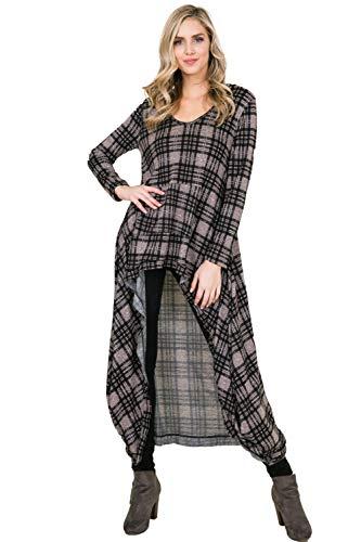 - Annabelle Women's Long Sleeve Plaid Print Knit Hoodie Pocket Soft Snug Fashion Tunic Tops Mauve Medium T1477