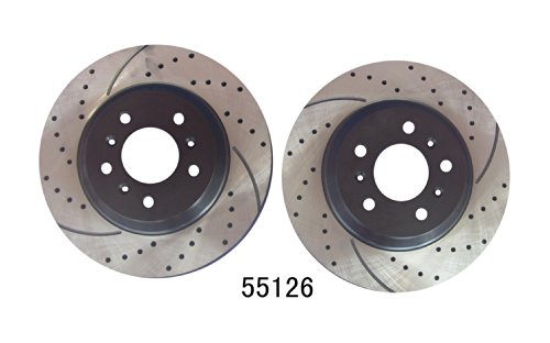 Front Pair Premium Performance Drilled and Slotted Disc Brake Rotors Approved Performance G20922R
