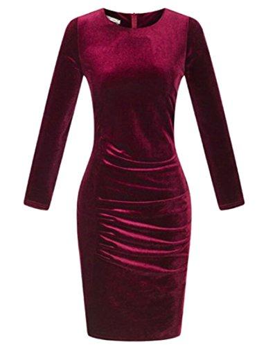 Pleated Sleeve Velvet Neck Dress Women's Bodycon Wine Red Round Long Domple Slim awSFfCq