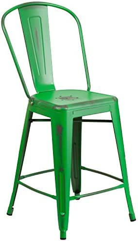 Flash Furniture Commercial Grade 24″ High Distressed Green Metal Indoor-Outdoor Counter Height Stool