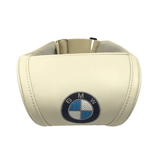 Beige Neck Support Pillow Headrest Neck Cushion with Embroidered Black Emblem Car Interior Accessories Compatible for BMW Great idea for a Gift to The Driver!