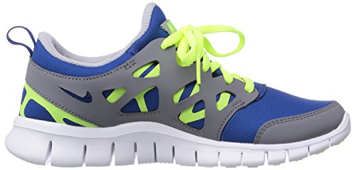 Nike Free Run 2 (GS) Unisex-Kinder Laufschuhe Blau (Gym blue/volt-cool grey-white)