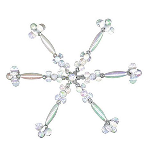 Ornaments Snowflake Beaded (Beaded Snowflake Ornament Kit (White AB - Makes 4 Ornaments))