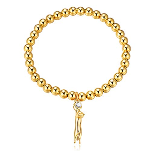 - 18K Gold Plated Sterling Silver 5mm Bead Ball Chain Bracelet with Cat Charm Bracelet for Women Girls