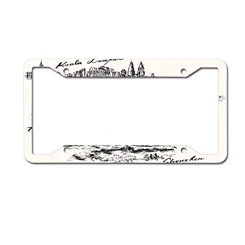 Headwind GR Your License Plate Frame Funny for Auto Car Tag Skyline Toronto Seattle Shenzhen Kuala Lumpur Hand Drawn Collection City Landmark Cityscape Pen Canada