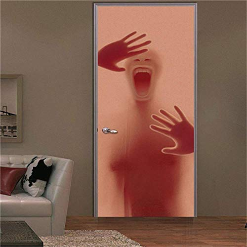 Heat Control Privacy Window Film Glass Stickers,Halloween Festival Home Decoration Terror Black Shadow Crossing the Wall Stickers On The Doors Painting For Living Room Murals ( 30.3 x 78.7 Inch )