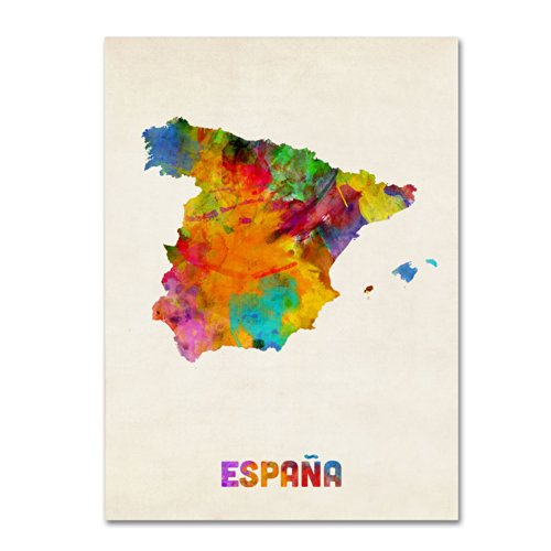Trademark Fine Art Spain Watercolor Map Artwork by Michael Tompsett, 18 by 24-Inch Canvas Wall Art by Trademark Fine Art