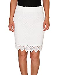 Karen Kane Women\'s Scallop Lace Mini Skirt, Off White, Medium