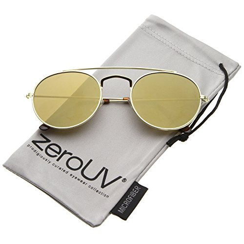zeroUV - Classic Full Metal Double Bridge Crossbar Flat Lens Round Aviator Sunglasses 54mm (Gold / Gold - Bridge Double