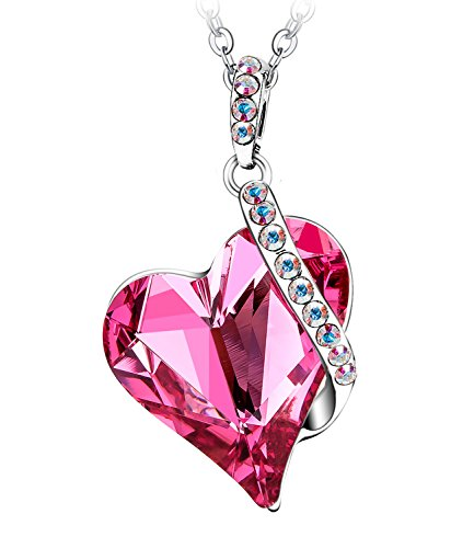 Menton Ezil Love Heart Pendant Necklace Made with Pink Rose SWROVSKI Crystals Gifts for Her Woman Fashion Jewelry Mother's Day Gift (Pendant Silver Crystal Pink)