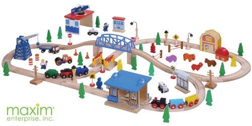 Maxim Enterprise Inc Wooden Train Set, 100-Piece ()