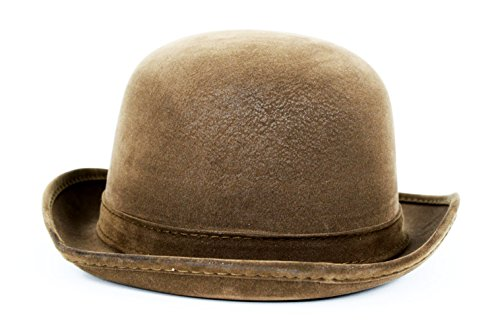 [Steampunk Faux Leather Derby Bowler Hat (Brown)] (Pimp Hat With Feather)