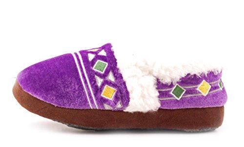 Luckers Womens Plushy Velvet Slipper Booties Purple U7XmI
