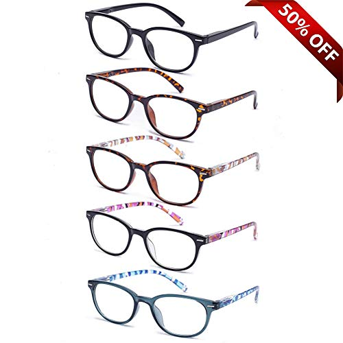EFE 5 Pack Reading Glasses Women and Men, Fashion Eyewear with Pattern Design Lightweight Frame (+2.00) from EFE
