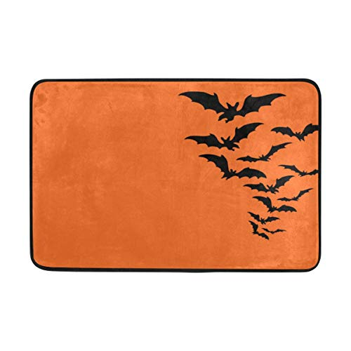 Thomas Eugene Halloween Bat Carpet Polyester Fabric Single-Sided Printing Non-Slip 23.6x15.7 inch -