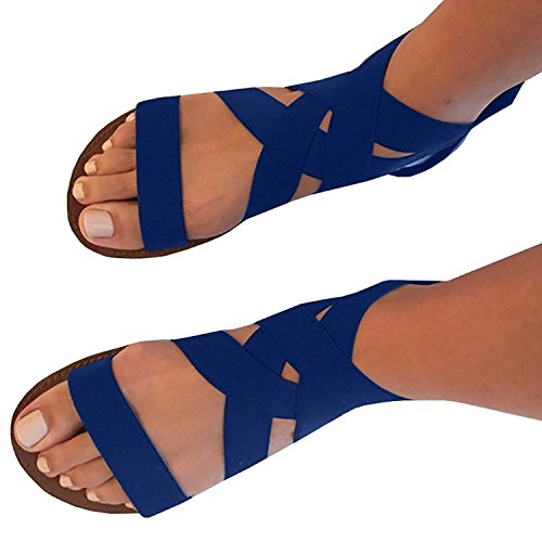 Color Woman Blue Sandal (Feshare Womens Summer Flat Sandals Elastic Ankle Strap Open-Toe Gladiator Black Blue (8.5 B(M) US, blue))