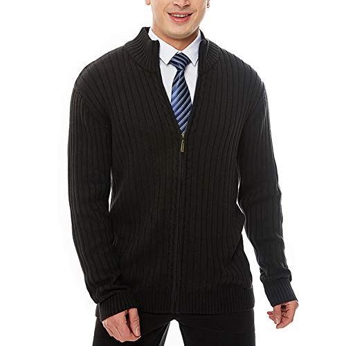 Cabled Sweater Coat - APRAW Men's Casual Slim Fit Sweaters with Zipper Cotton Knitted Cardigan Black