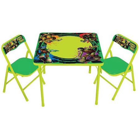 NEW! Teenage Mutant Ninja Turtles Kids Erasable Activity and Play Folding Table and Chair Set with 3 Dry-Erase - Mission Double Shade Table Lamp