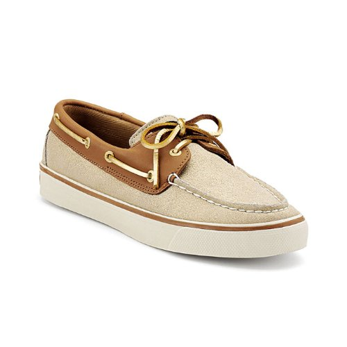 Sperry Top-Sider Women's Bahama Natural Sparkle Suede Boat Shoe (6)
