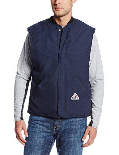 Bulwark Flame Resistant 4.5 oz Nomex IIIA Regular Vest Jacket Liner with Rib-Knit Collar, Navy, ()