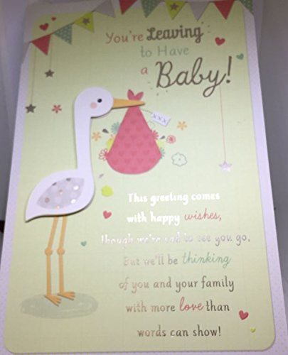 'You're Leaving To Have A Baby' Large High Quality Card With Stork Motif Gold