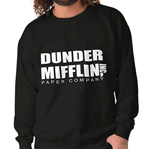 Brisco Brands Dunder Paper Company Mifflin Office TV Show Crewneck Sweatshirt Black