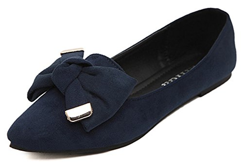 Difyou Vrouwen Faux Suede Puntige Teen Boog Flats Schoenen Blauw