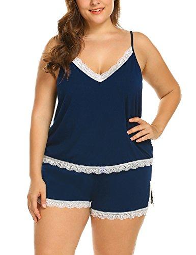 d9950977738 Women s Plus Size Model Sleepwear Set Pajamas Camisole Shorts Set ...