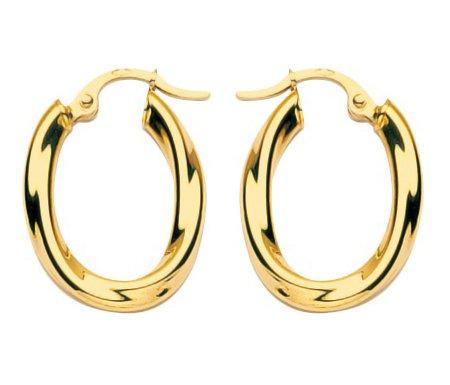 So Chic Bijoux © Boucles d'oreilles Femme Créoles Ovales Ellipses Torsades Légères Fil Rond Epais Or Jaune 750/000 (18 carats)