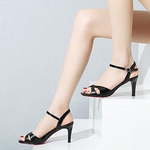 Jqdyl High Heels Weibliche Sandalen Sommer Stiletto Heels Fischnudeln Wild  35|Black