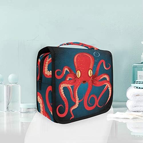 赤いタコハンギング折りたたみトイレタリー化粧品袋メイク旅行オーガナイザーバッグケース用女性女の子浴室