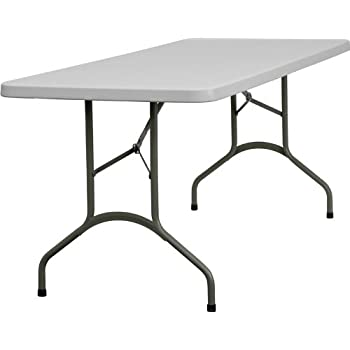 Flash Furniture 30u0027u0027W X 72u0027u0027L Granite White Plastic Folding Table