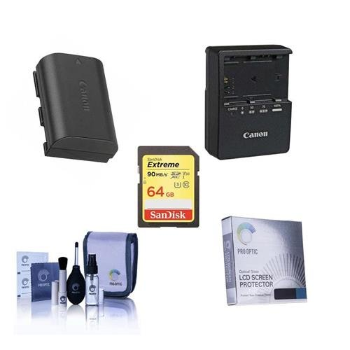 Canon EOS-6D Accessory Bundle - Consists of Canon LP-E6 N Li-Ion Battery, LC-E6 Compact Battery Charger, Screen Protector, Lexar 64GB Pro UHS-I SDHC Card, Cleaning Kit