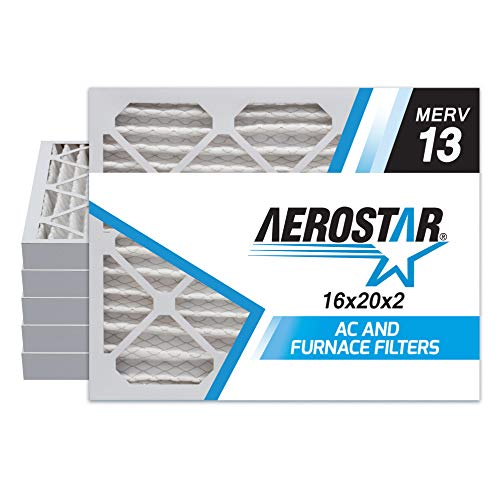 (Aerostar 16x20x2 MERV 13 Pleated Air Filter, Made in the USA, 6-Pack)