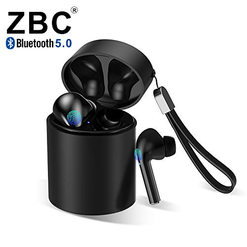 ZBC Truly Wireless Bluetooth Earbuds Noise Reduction Headphones Hi-Fi 3D Stereo Sound Built-in Mic Earphones in-Ear TWS Headsets Smart Touch Airpods Portable Charging Case Android iOS (M5-Black)