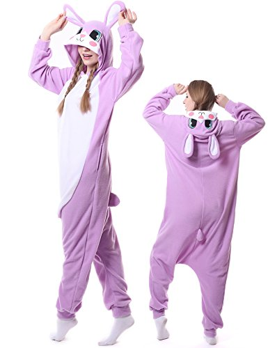 (Unisex Adult Onesie Rabbit Animal Pajamas Halloween Costume One Piece Cosplay Outfit for Women)