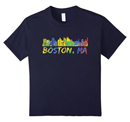 Kids Boston MA Shirt Colorful Rainbow Skyline Paint Vintage Tee 12 Navy Boston Design Studio