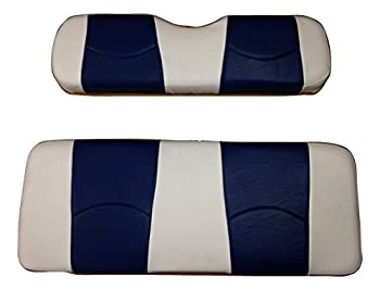 Kool Cushions  Ezgotxt-whnvstfr-01 -Custom Vinyl Golf Cart Seat Covers Front and Rear-white with Navy Stripe- For Ez-go TXT Golf Cart