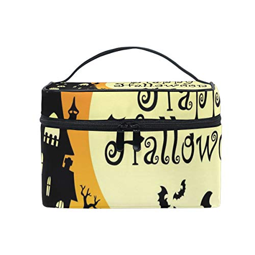OREZI Happy Halloween Theme Cosmetic Bag Large Multifunction Makeup Travel Toiletry Travel Kit Organizer Case with Quality Zipper Portable for Makeup Bag for Women ()