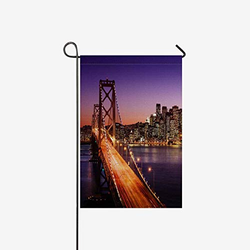 TAOGAN San Francisco Skyline and Golden Gate Bridge at Sunset California Double-Sided Garden Flag Decorative for Garden and Home Decorations, House Banner 28 x 40 Inches (Without Flagpole) -