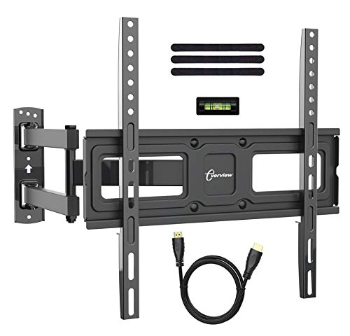TV Wall Mount Bracket fits to Most 32-55 inch LED,LCD,OLED Flat Panel TVs, Tilt Full Motion Swivel Articulating Arms, Bring Perfect Viewing Angle, Max VESA 400X400, 77lbs Loading-by EVERVIEW