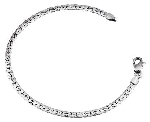 Orleo - REF5011BB : Bracelet Femme Or 18K blanc - Maille Haricot 18 cm