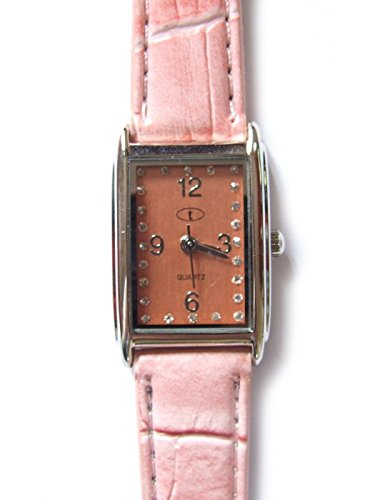 Rosa rectangular piel, esfera para mujer Fashion – Reloj