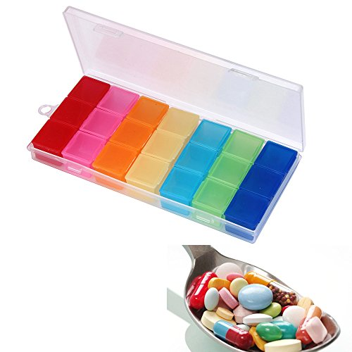 Iusun Pill Box Case Portable Daily Medicine Drug Tablet Dispenser Organizer Weekly Storage Case Holder Push Button Easy Open for Vitamin Fish Oil Supplements 21 Compartment Container (Colorful)