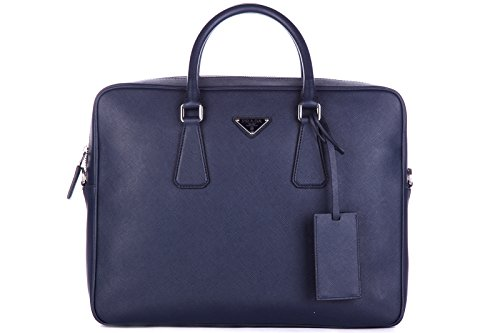 Prada briefcase attaché case laptop pc bag leather saffiano travel blu